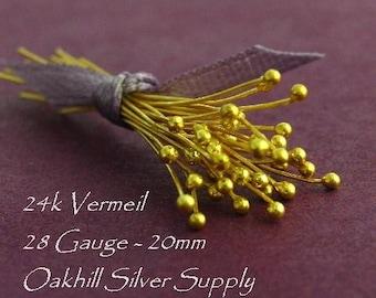 100 Vermeil Ball End Head Pins  28 Gauge -  20mm - BH28-V20