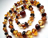 Baroque Baltic Amber Baby  Teething necklace. Cognac Honey Lemon Colors. 12 inches.