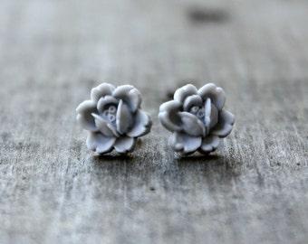 Titanium Flower Earrings, Light Gray Rosettes on Hypoallergenic Titanium Posts/Studs
