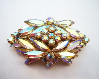 Vintage Exquisite layered rhinestone brooch in aurora borealis finish
