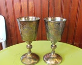 Vintage Antique Wilcox Silverplate Co Countryside Goblet #1205 Set of 2