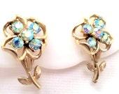 Vintage CORO Gold Tone Flower Earrings Light Blue AB Rhinestones Clip Earrings