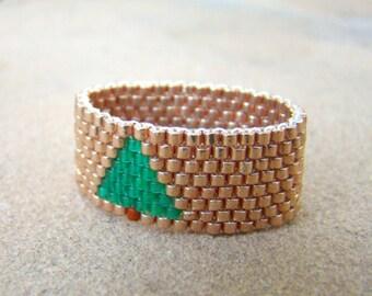 Gold Beaded Ring  Pine Tree Bead Ring  Tree Seed Bead Ring  Green on Gold Ring  Seed Bead Jewelry  Gold Beadwoven Ring