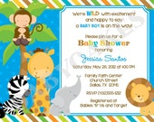 Safari Jungle Animals Baby Shower Invitation - DIY Print Your Own - Matching Party Printables available