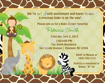 Safari Jungle Animals Baby Shower Invitation zoo animals invite - DIY Print Your Own - Matching Party Printables also available
