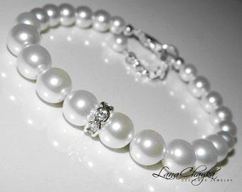 Wedding Swarovski White Pearl Bracelet One Strand Pearl Bridal Bracelet White Pearl Wedding Jewelry Bridal Pearl Bracelet Bridesmaid Jewelry