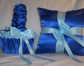 Blue Horizon Satin With Light Blue Ribbon Trim Flower Girl Basket And Ring Bearer Pillow Set 1