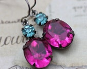 Pink Fuchsia Earrings Aqua Turquoise Earrings Dangle Earrings Gunmetal Settings French Hook Earwire Dangle Earrings