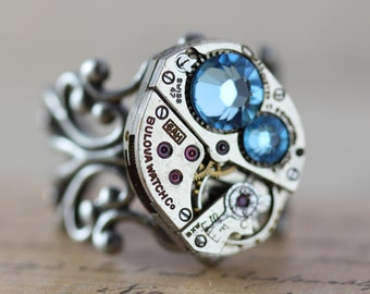 Aquamarine Ring Statement Ring Unique Ring Blue Steampunk Ring March Birthstone Ring Swarovski Crystal Ring Cocktail Ring Steam Punk Jewelry