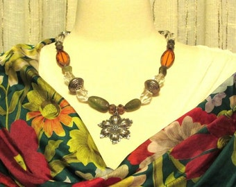Flower beaded necklace. Handmade. Mossy green and gold Czech Picasso beads and silver plate.