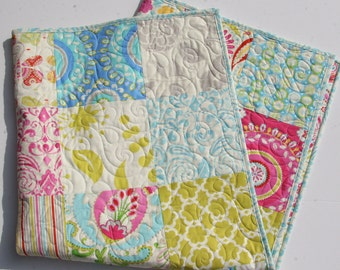 SALE Kumari Garden Baby Quilt, Big Block, Girl Crib Bedding, Kids Child Blanket, Dena Designs, Pink Aqua Yellow, Paisley Flowers