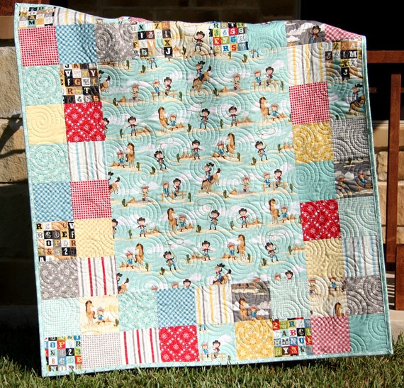 Western Baby Quilt Boy Or Girl Gender Neutral Blanket