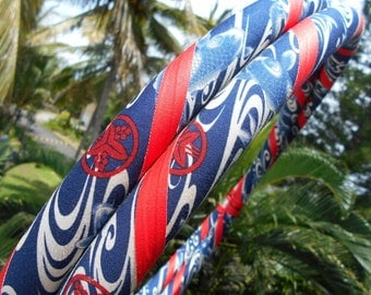 Blue Dancing Koi Fabric Hula Hoop with Custom Tubing, Diameter & Grip Options! Great for Beginners!