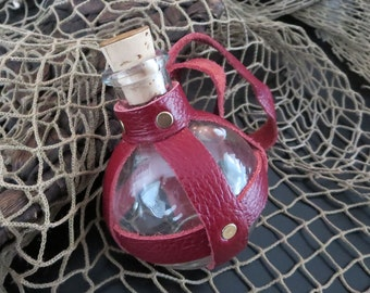 Pirate/Steampunk Glass Bottle, RED, Lannister/Gryffindor Crimson & Gold, Scarlet, Leather-Wrapped - Limited Edition