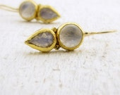 Gold Moonstone Earrings - 24k Solid Gold Earrings - Moonstone Earrings - Fine Jewelry - Bridal Earrings