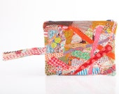 Refashion - upcycled  zipper pouch - Recycled  Pencil case with handle -Crazy Patchwork ,Make Up Bag, colorful , Navy  zipper- Handmade