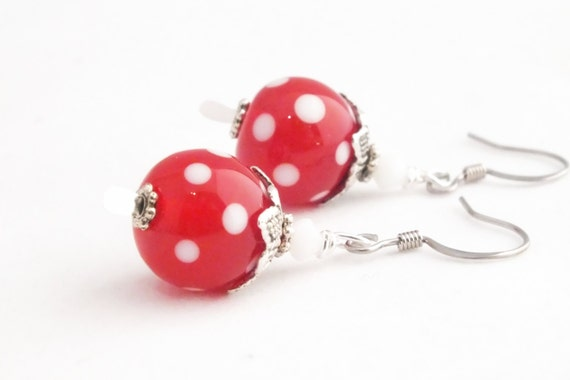 Red and White Polka Dot Artisan Lampwork Bead Surgical Steel Swarovski Earring Dangles, Red & White Earrings, Polka Dot Earrings