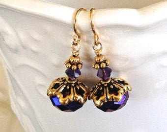 Short Royal Purple & Blue Crystal Earrings in Gold