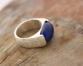 Navy Blue Silver Ring, Lapis Silver Ring, Hammered Silver Ring, Size 5 Silver Ring