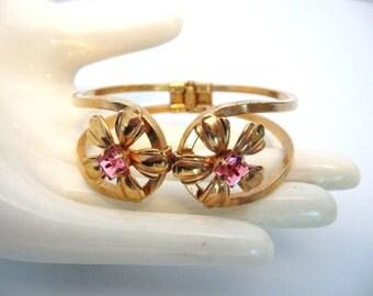 Vintage Pink Rhinestone Clamper Bracelet