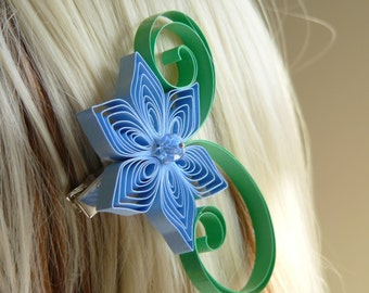 Cornflower Blue and Kelly Green Wedding Hair Accessory, Bridesmaid Gift, Cornflower Wedding, Kelly Green Wedding