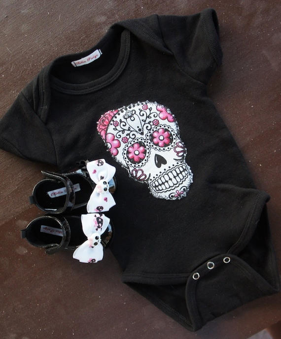 Olivia Paige - Rockabilly baby punk rock sugar skull skeleton outfit bodysuit with shoes stu								<a href=