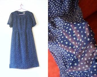 WoozWass Vintage 1970s japanese Floral Navy Blue Sheer Fabric dress Sz S, S-M