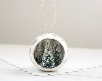 Diorama Ornament - Mini Winter Forest with Bottle Brush Trees, Mica, and German Glass Glitter