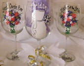 One Bridesmaid  Bride  Groom Groomsmen Wine Glass Hand Painted Personalized Glasses