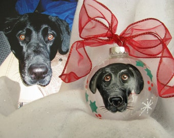Pet  Portrait Ornaments Personalized  Hand Painted  Animal Portrait Custom Dog Cat Horse Ferret