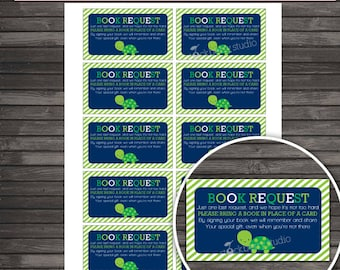 Turtle Baby Shower Book Request Card Printable  - Instant Download - Boy Baby Shower Please Bring Book - Navy Blue Green - Baby Library
