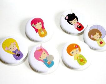 SALE Hana Chan Button Set - Signature Hana chan dolls (kokeshi doll designs)