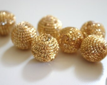 Sparkletastic Gold - Golden Zardosi Ball Beads (1 pair - 2 beads)