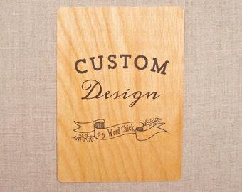 CUSTOM DESIGN FEE - Real Wood Wedding Invitations