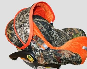 Baby Boy Infant Car Seat Cover, Baby Car Seat Covers, Infant Car Seat Covers Boy Hunter,Camo,Mossy Oak  orange minky infant car seat cover