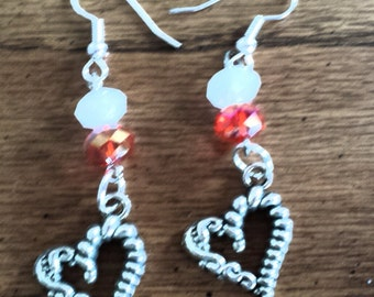 Red and White Heart Valentine Earrings