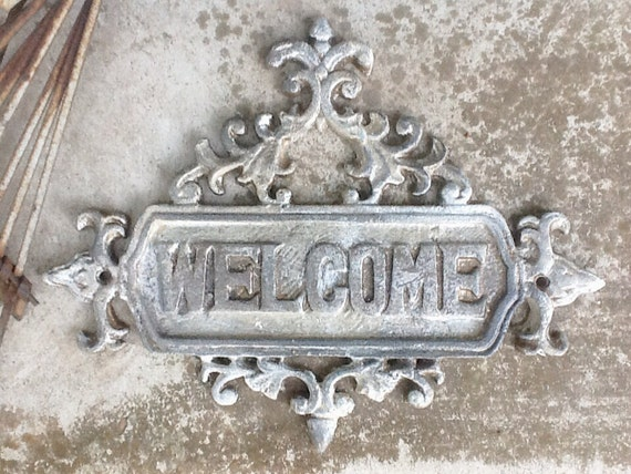 White WELCOME Sign Plaque-Rustic Cast Iron Old