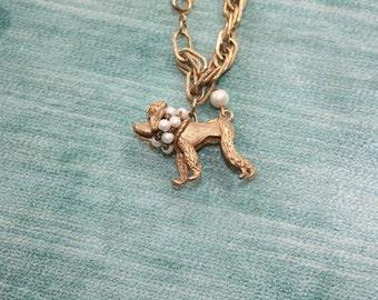 Vintage Poodle Dog Charm Bracelet Goldtone