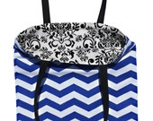 Royal Blue and White Chevron // Black Damask Reversible Tote Bag