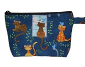 Cats in Blue Makeup Bag