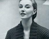 Ladies' 1950s Shawl-Collared Bedjacket -- PDF KNITTING PATTERN