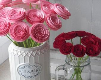 Light Pink Valentine Spiral Paper Flower Centerpiece, Gift Bouquet, Home Decor