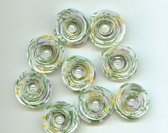 Flower Printed Handmade Spiral Paper Flowers Green, Aqua, Purple, Yellow