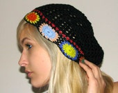 Hand crocheted Slouchy Beanie Hat - Black with Floral details