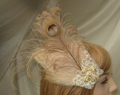Ivory Bridal feather fascinator,Peacock feather fascinator,Thanksgiving wedding,November wedding,Holiday wedding,Rhinestone cross fascinator
