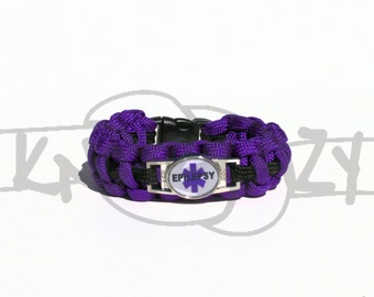 Epilepsy Medical Alert ID ALLOY ROUND Charm on 550 Paracord Survival Strap Bracelet with Plastic Contoured Side Release Buckle