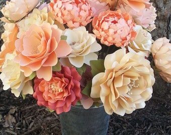 Paper Flowers - Wedding - Birthday - Special Events - Set of 24 - Mixed Sizes - Made To Order