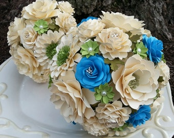 Paper Bouquet - Paper Flower Bouquet - Wedding Bouquet - Ivory with splash of blue and green - Custom Made - Any Color