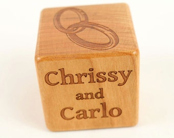 Wedding Gift, PERSONALIZED Wooden Wedding Block, Solid Cherry, Laser Engraved, Bride and Groom, Rings, Artwork, Wedding Date, Paul Szewc