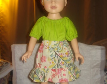 EASY TO DRESS - Pretty floral ruffled skirt & lime green Peasant top for 18 inch Dolls - ag120